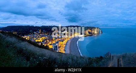 The village of Etretat on the Cote d'Albatre. Normandy, France. - Stock Photo