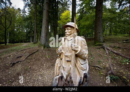 The sculpture of a Poilu (French soldier) in the woods where the village of Fleury devant Douaumont stood. Verdun, France. - Stock Photo
