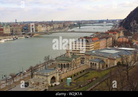 Budapest, Hungary - February 4th 2019: View from the Buda side of the city, down the river Danube, looking across to Pest. - Stock Photo