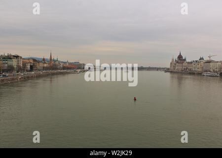 A view up the river Danube in Budapest, of the Buda side of the city (on the left), and the Pest side (on the right). Shot taken from chain bridge. - Stock Photo