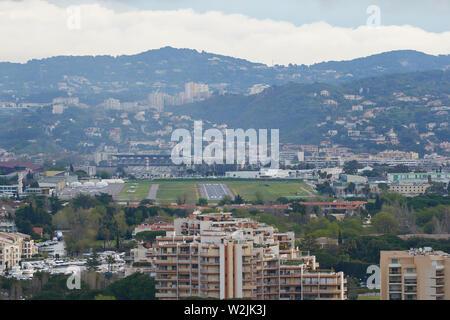 Mandelieu-La Napoule, France - April 04, 2019: View on Mandelieu-La Napoule and Cannes - Mandelieu Airport. - Stock Photo