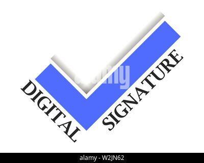 Digital signature. Check mark on white background. Sign of approval. Vector illustration - Stock Photo