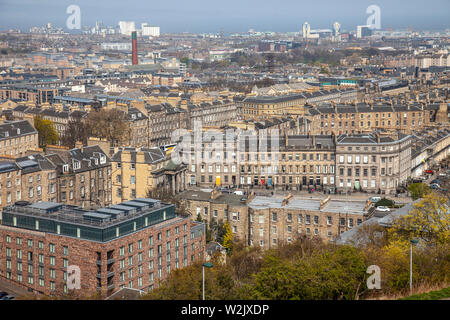 Elevated view of Edinburgh, Scotland, from Calton Hill looking over part of London Road towards the north of the city towards the Firth of Forth. - Stock Photo