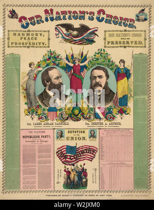 Our Nation's Choice--Gen. James Abram Garfield, Republican Candidate for President, Gen. Chester A. Arthur, Republican Candidate for Vice-President, Campaign Poster, Lithograph, Haasis & Lubrecht, Publishers, 1880 - Stock Photo
