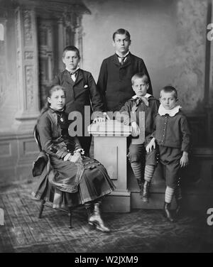 Children of U.S. President James A. Garfield, (l-r), Mary, James, Harry, Irvin, Abram,  Full-Length Portrait, Brady-Handy Collection, 1880 - Stock Photo