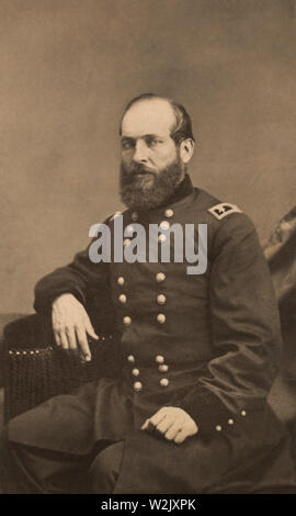 Major General James Abram Garfield of 42nd Ohio Infantry Regiment and General Staff U.S. Volunteers Infantry Regiment, Seated Portrait in Uniform, Photograph by Charles D. Fredericks, 1861 - Stock Photo