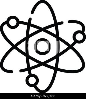 Atom and electrons icon, outline style - Stock Photo