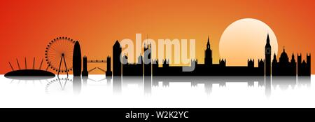 City of London on the horizon. The line of the city against the backdrop of a sunny sunset. - Stock Photo
