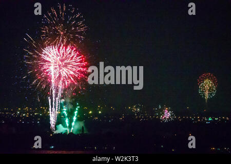 Miami Beach Florida North Beach Fire on the Fourth Festival July 4th annual event fireworks display burst - Stock Photo