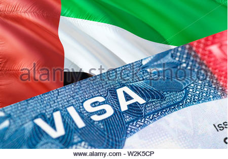 UAE Visa Document, with United Arab Emirates flag in background, 3D rendering. United Arab Emirates flag with Close up text VISA on USA visa stamp in - Stock Photo