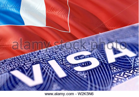 Wallis and Futuna Visa Document, with Wallis and Futuna flag in background, 3D rendering. Wallis and Futuna flag with Close up text VISA on USA visa s - Stock Photo