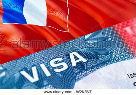 Wallis and Futuna visa document close up, 3D rendering. Passport visa on Wallis and Futuna flag. Wallis and Futuna visitor visa in passport. Wallis an - Stock Photo