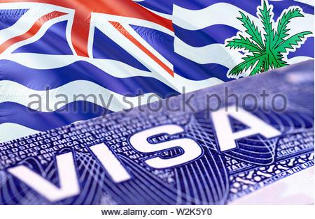 text VISA on British Indian Ocean Territory visa stamp in passport, 3D rendering. passport traveling abroad concept. Travel to British Indian Ocean Te - Stock Photo