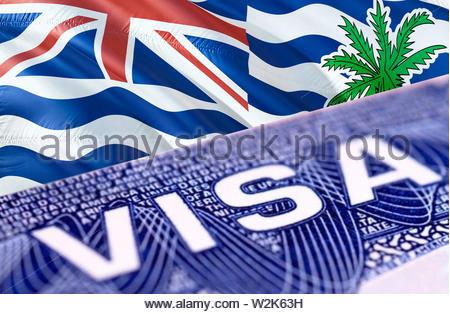 British Indian Ocean Territory Visa Document, with British Indian Ocean Territory flag in background, 3D rendering. British Indian Ocean Territory fla - Stock Photo