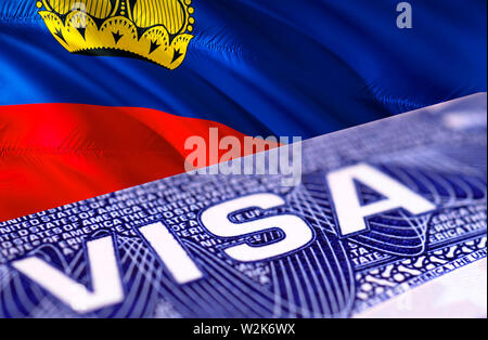 Liechtenstein visa document close up, 3D rendering. Passport visa on Liechtenstein flag. Liechtenstein visitor visa in passport. Liechtenstein multi e - Stock Photo