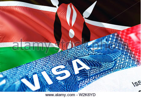 Kenya visa document close up, 3D rendering. Passport visa on Kenya flag. Kenya visitor visa in passport. Kenya multi entrance visa in passport. Close - Stock Photo