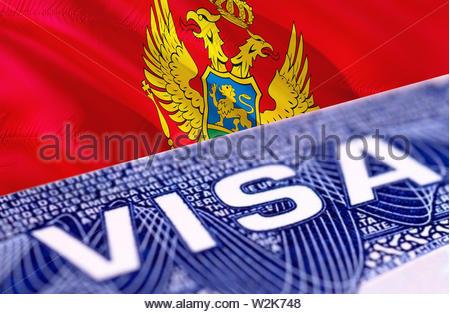 Montenegro Visa in the passport, 3D rendering. Closeup Visa to The Montenegro focusing on the word VISA. Travel Montenegro visa in passport close-up. - Stock Photo