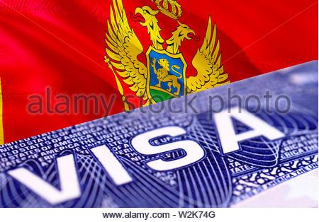 Montenegro Visa Document, with Montenegro flag in background, 3D rendering. Montenegro flag with Close up text VISA on USA visa stamp in passport.Visa - Stock Photo