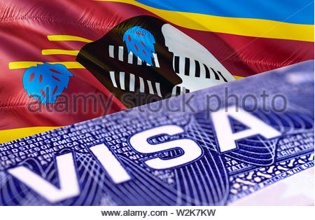 Swaziland Visa in the passport, 3D rendering. Closeup Visa to The Swaziland focusing on the word VISA. Travel Swaziland visa in passport close-up. Swa - Stock Photo
