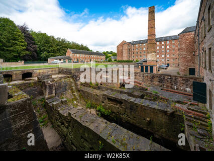 View of historic preserved Stanley Mills  former cotton mills factory in Stanley, Perthshire, Scotland, UK - Stock Photo