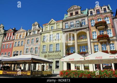 Colorful renaissance facades on the central market square, Poznań, Poland, Europe - Stock Photo