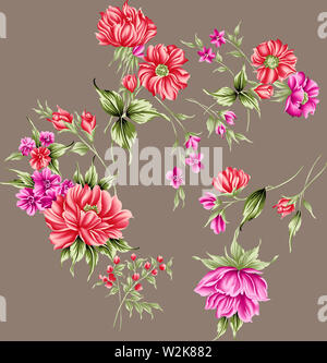 Isolated flower, water color flower beautiful flower bunch - Stock Photo