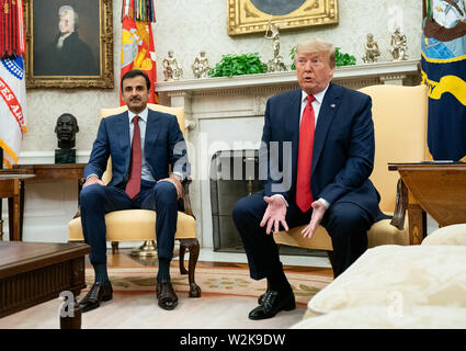 United States President Donald J. Trump speaks during a meeting with the Qatari Emir Sheikh Tamim bin Hamad Al Thani, in the Oval Office at the White House in Washington, D.C. on July 9, 2019. Credit: Kevin Dietsch / Pool via CNP /MediaPunch - Stock Photo