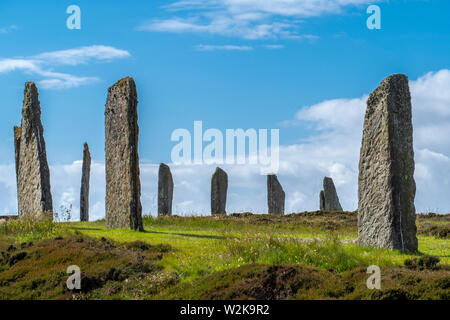 The Ring of Brodgar is a Neolithic henge and stone circle about 6 miles north-east of Stromness on the Mainland, the largest island in Orkney, Scotlan - Stock Photo
