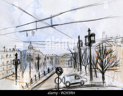 Watercolor cityscape. Quick sketch. Line Art. Black pencil. Saint Petersburg, Russia. Rain on the square. The concept of autumn and spring. For an alb - Stock Photo