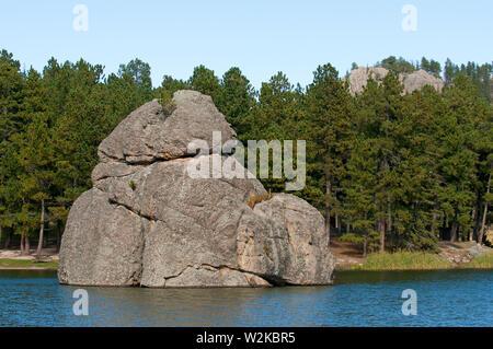 Big rock in Sylvan Lake, Custer State Park, South Dakota, USA - Stock Photo