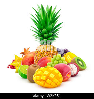 Tropical fruits whole and cut isolated on white background - Stock Photo
