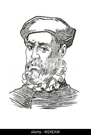 Badajoz, Spain - Jan 7th, 2019: Ferdinand Magellan Portrait. Draw from book Enciclopedia Autodidactica published by Dalmau Carles in 1954 - Stock Photo