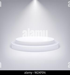 White round podium illuminated with light - Stock Photo