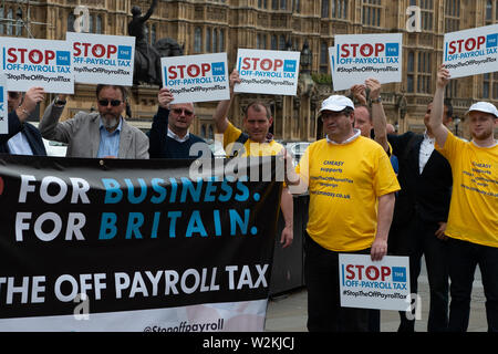 Westminster, London, SW1A 0AA, UK. 9th July, 2019. Stop The Off-Payroll Tax campaigners outside the House of Commons with their campaign to stop the Government's war on contracting by agreeing to pause the plans to extend Off Payroll-Tax to the private sector. Credit: Maureen McLean/Alamy Live News - Stock Photo