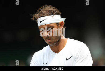 London, UK. 8th July, 2019. Rafael Nadal (ESP) during his match against Joao Sousa (POR) in their Gentleman's Singles Fourth Round match. Credit: Andrew Patron/ZUMA Wire/Alamy Live News - Stock Photo