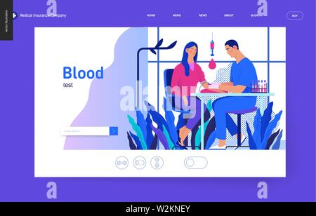Medical tests Blue template - blood test - modern flat vector concept digital illustration of blood test procedure - patient and doctor with syringe a - Stock Photo