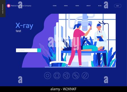Medical tests blue template - x-ray test - modern flat vector concept digital illustration of x-ray procedure - a patient and doctors with a x-ray mac - Stock Photo