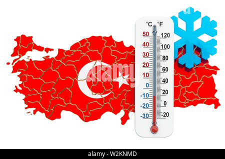 Extreme cold in Turkey concept. 3D rendering isolated on white background - Stock Photo