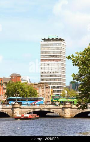 Dublin's River Liffey, O'Connell Bridge and Liberty Hall - Stock Photo