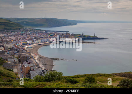 A view of Aberystwyth from Constitution Hill - Stock Photo