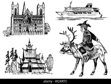 Norway culture. Set of national symbols. Norwegian Cathedral, wooden church, horseman in costume, ship for sea travel. Hand drawn engraved sketch in - Stock Photo
