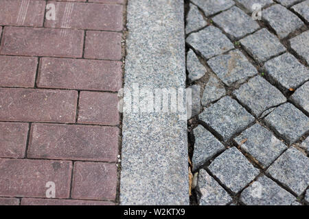 surface pavement road brick pattern sett texture - Stock Photo