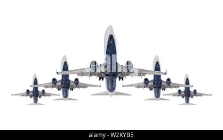 Five Passenger Airplanes In Formation Isolated on a White Background. - Stock Photo