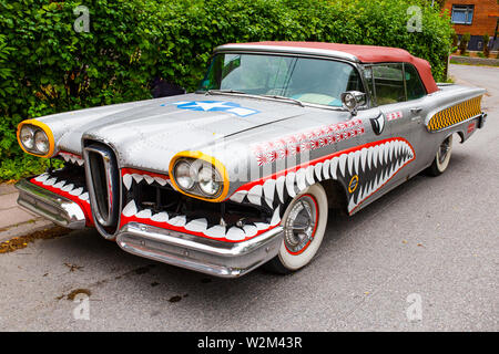 Turku, Finland - 02 July, 2018: Circa 1958 Edsel Pacer dressed up as a WWII era fighter plane. - Stock Photo