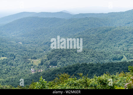 View of trees in Shenandoah Blue Ridge appalachian mountains on skyline drive overlook and rolling hills - Stock Photo