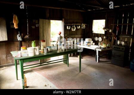 House, Kitchen, Barreirinha Community, Macaco River, Manaus, Amazônia, Amazonas, Brazil - Stock Photo