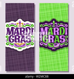 Vector vertical banners for Mardi Gras - Stock Photo
