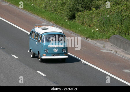 WFU909J VW Volkswagen campervan; Motoring classics, historics, vintage motors and collectibles 2019; Leighton Hall transport show, cars & veteran vehicles of yesteryear on the M6 motorway near Lancaster, UK - Stock Photo
