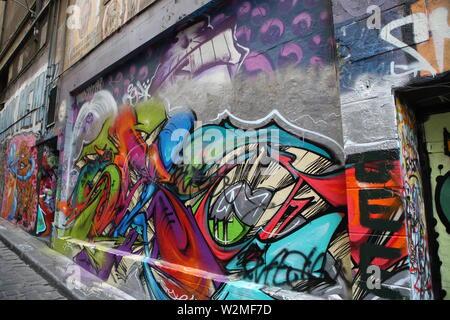 Famous graffiti, suburban art in Melbourne, Victoria, Australia. Hosier Lane - Stock Photo