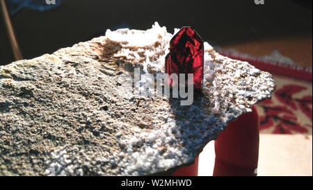 Brookite Specimen with white quartz crystals origin Pakistan. - Stock Photo
